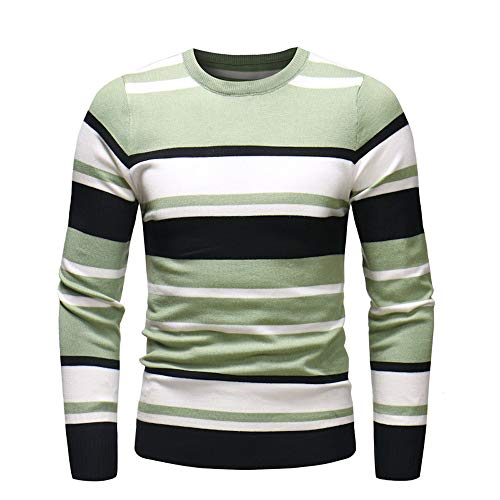 UJUNAOR Männer Lässig Bluse Herbst Winter Sweatshirt Pullover Strickwaren Outwear Jumper Herren Gestreift Sport T-Shirt Mit Rundhalsausschnitt(Grün,EU M/CN L)