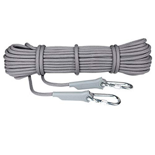 GPAN Polyester Kletterseil Sicherheitsseil mit Schraubglied Verschiedene Längen Durchmesser Tragegewicht im Freien Wanderung Bergsteigen,Gray,20Meters(A)