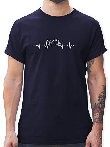 Motorräder - Herzschlag Motorrad - XL - Navy Blau - L190 - Herren T-Shirt Rundhals