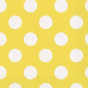 Unique Party Paquete de 16 servilletas de papel a lunares Color amarillo 30426