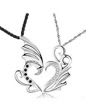 His & Hers Paare Engels-Flügel Zweiteilige Herz Anhänger Halskette Ich liebe dich großes Geschenk Freund Freundin