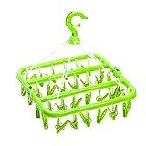 OUNONA Wäschespinne mit 32 Klammern Klappbare Kleiderbügel Wäscheklammer Trockengestell für Socke Unterwäsche (Grün)