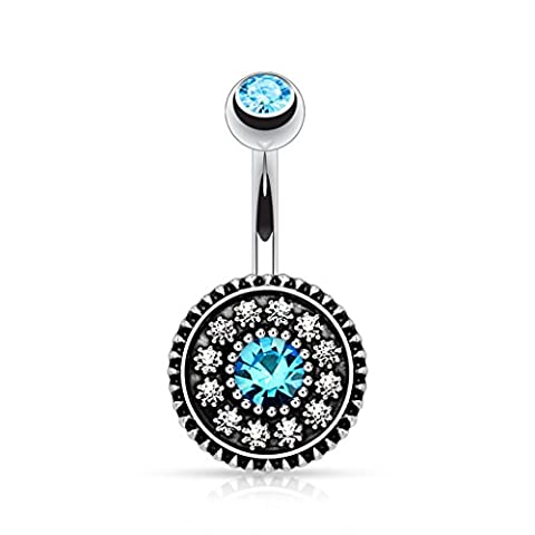 Paula & Fritz Belly Bar, Stainless Steel, Surgical Steel 316L Oxidised Steel Round Vintage Plate with Zirconia, Clear,