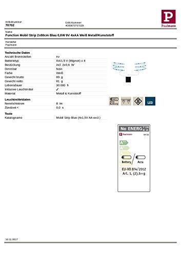 Paulmann 707.02 Function Mobil Strip 2x80cm Blau 0,6W 9V 4xAA Weiß Metall/Kunststoff 70702 LED Lichtband Lichtstreifen Lichtschlauch