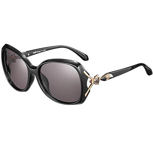 rezi Polarisierte Sonnenbrille, Pilotenbrille Damen Herren, UV400 Schutzlinse, Vintage Square und Fliegerrahmen für Tourismus/Freizeit/Sport, 9 Farben (Fuchs Schwarz)