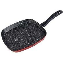 Grillpfanne eckig aus Carbon Stahl 28 cm Bratpfanne mit Antihaft Beschichtung in rot (rutschfester Griff, Induktion Pfanne, emailliert, wärmespeichernd, innen Steinoptik)
