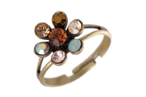 Michal negrin–anello–donna–con fiore ornamento accento con marrone, blu e beige cristalli swarovski; fatto a mano in israele