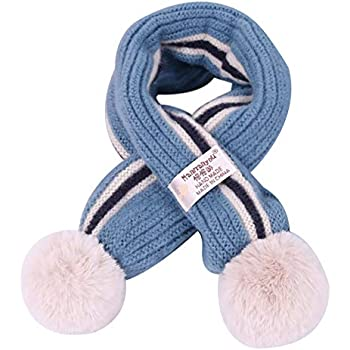 Kids Toddlers Teens Soft Winter Warm Scarf Boys Girls Adorable Thick Thermal Cozy Plush Neck Warmer Scarf Wraps with Pom Children Xmas Gift Watermelon Red C