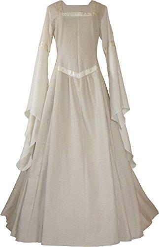 Dornbluth Damen Mittelalter Kleid Hermia Leinen (36/38, Beige-Ecru)