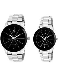 SPYN Analog Black Dial Men's Watch and Women's Watch - Couple Combo 1