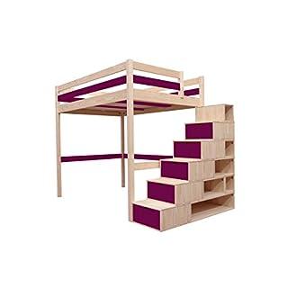 ABC MEUBLES - Hochbett Sylvia mit Treppenregal Holz - Cube - Naturlack/Plum, 90x200