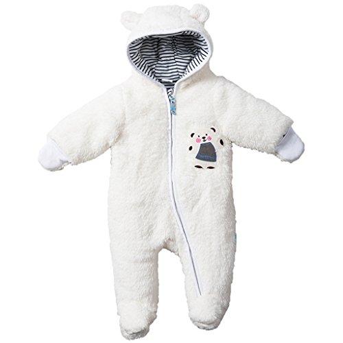 Vine Baby Schneeanzüge Winter Overall mit Kapuze Fleece Strampler Footed Spielanzug Jumpsuit, Weiß 6-9 Monate