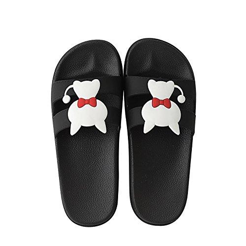 Ciabatte da bagno per uomo / donna estive antiscivolo casa outdoor wear paio sandali e ciabattine in stile cartoon,black,44