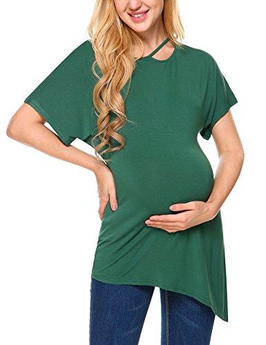 HOTOUCH Damen Lose Mutterschaft Bluse Oberteile Oversized Tops T-shirt Schwangerschaft Umstandsshirt Schlafanzug Grün M (Top Mutterschaft T-shirt)