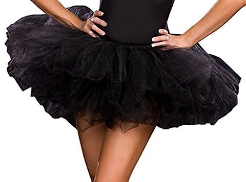 Black Multi Layered Tulle Tutu Petticoat Costume Accessory One Size