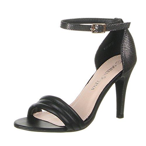 Damen Schuhe, B107-SP, SANDALETTEN Schwarz