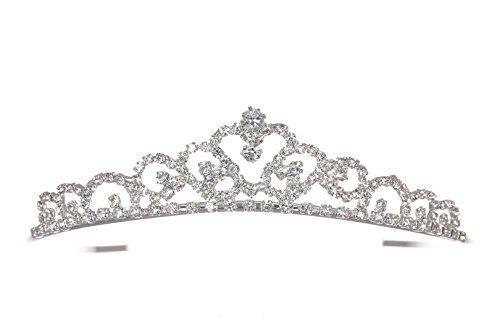 Venus Jewelry Tiara de boda de cristal de princesa para mujer Plateado