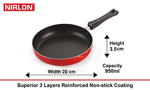 Nirlon Non-Stick Frying Pan and Kadai Combo Set Without Stainless Steel Lid, 2.6mm_FP10_KD10_KD11