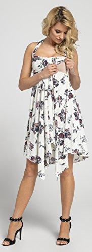 Happy Mama Damen Umstands Asymmetrisch Stillkleid Neckholder Kleid 656p - 6