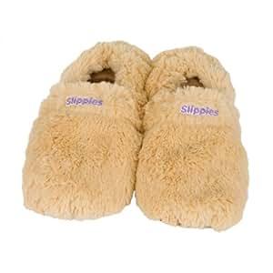 Warmies Slippies Deluxe wärme Pantoffel beige Gr. L (41-45),