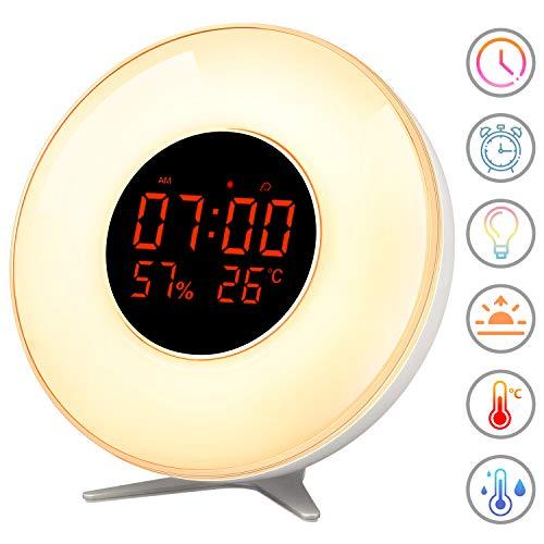 Wake Up Licht, AMTOK Sonnenaufgang Simulation Lichtwecker mit Schlummerfunktion Einfache Bedienung 7 Farbige LED Lichter Nachtlicht für Erwachsene und Kinder/Alten