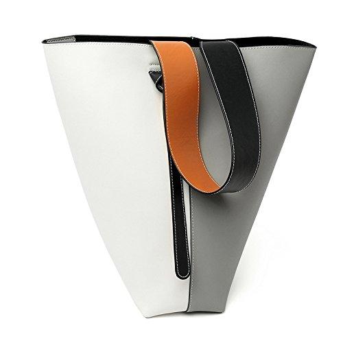 Mefly Single Schulter Obliquer Querschnitt Tasche Leder Mode Absturz White Gray Large