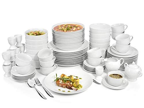 Sänger Geschirrservice New Port aus Porzellan 86 teilig | Kombiservice für 12 Personen aus Speisetellern, Desserttellern, Suppentellern,Tassen, Untertassen, Eierbechern sowie Milchkanne und Zuckerdose