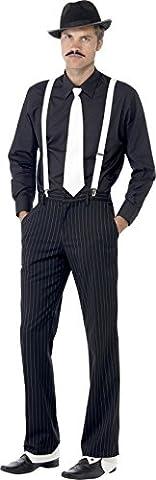 Smiffys Déguisement Homme, Kit du gangster, avec bretelles, cravate, chapeau, broche et moustache, 23083