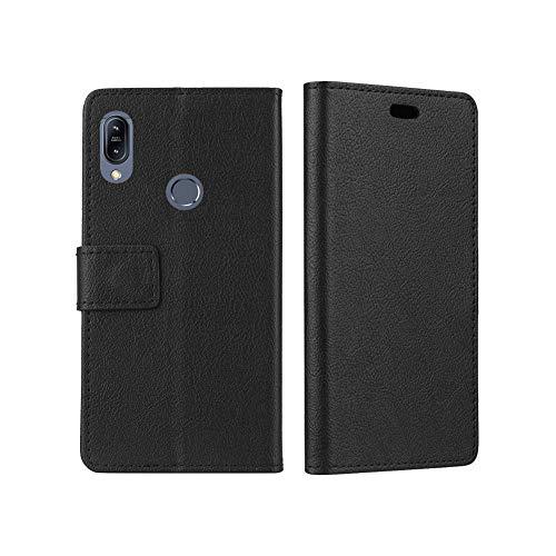 NTakia Hülle für ASUS Zenfone Max M2 ZB633KL, Tasche PU Leder Retro Hülle Flip Case Schutzhülle Magnetverschluss Wallet Deckel mit Kartensteckplätze Tasche für ASUS Zenfone Max M2 ZB633KL - Schwarz