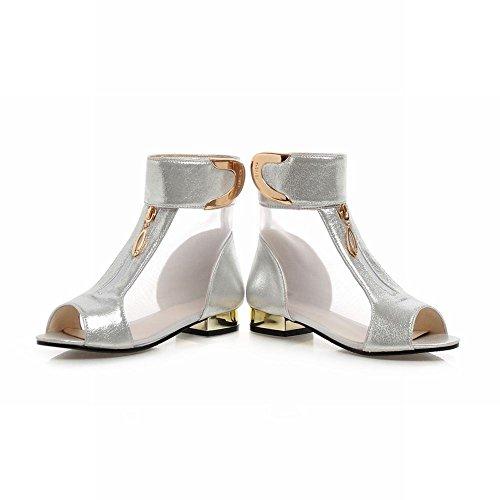 Mee Shoes Damen Niedrig Mesh Klettverschluss Sandalen Silber