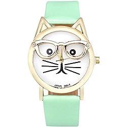 KEERADS Women Analog Quartz Dial Wrist Watch Cute Glasses Cat, Blue