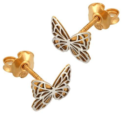 Orleo - REF1489BB : Boucles d'oreille Femme Or 18K bicolore - Papillon - Fabriqué en France