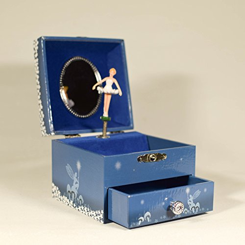 UniqueGift Blue Wind up Music Box Ballerina – Musical Jewelry Box für Mädchen – Jewelry Aufbewahrung – Musik Box Geschenk – Jewelry Box Geschenk – Schwarz Swan Lake Musik Box