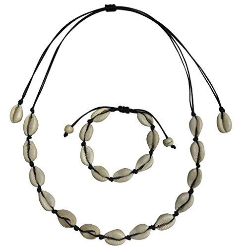 LILIHOT Damen Halskette Bohemian-Stil Muschelkette mit Kordel Natürliche Süßwasser Muschel Weiß Türkis Halskette Armband Damenschmuck handgefertigt süße Halsketten