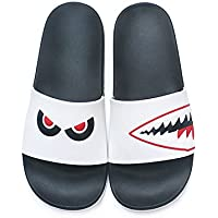 fankou Geek Shark Slippers Summer Female Couples Bathroom Personality Stay with Anti-Slip Soft Bottom Indoor Lovely Cool and,36, White - Red
