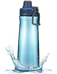 OMorc Bouteille d'eau Sportive Grande capacité 1Litre à Torsion, Eco-friendly et Plastique sans BPA Pour Course à pied, Gym, Voyager, Yoga etc - Bleu