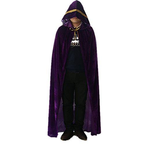 Labellevie Lange Umhang mit Kapuze Samt Mit Spitzengold Cape Vampir Kostüm Halloween Erwachsener Unisex Violett 130cm (Kapuze Samt-cape Mit)