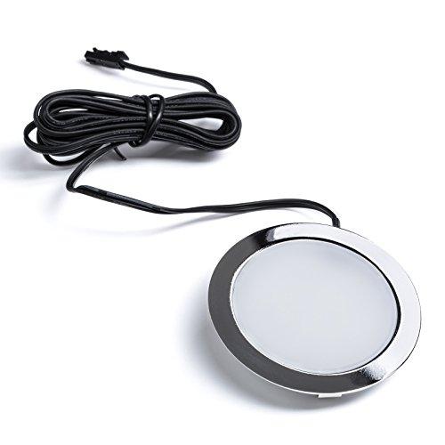 SO-TECH® LED Einbaustrahler Giulia Möbeleinbauleuchte Einbauleuchte Spot Ultraslim / 12V / 3W / neutralweiß - 4000K / 65 x 12 mm/Gehäuse verchromt -