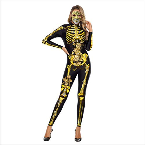 Erwachsenen Knochen Für Kostüm Skelett - PAOFU-Damen Halloween Knochen Skelett Overall Erwachsene Kostüm,Schwarz,L