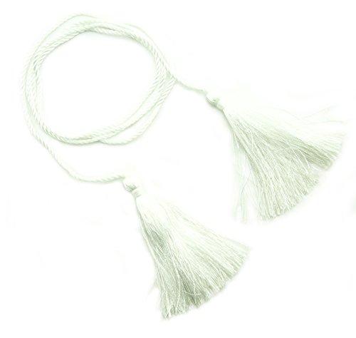 Hand®-Satz von 4 weißen seidiges Polyester doppelte enden Quasten mit String Kordel - 127 cm lang (Quaste Weiße)