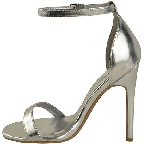 Da donna in acciaio inox a forma di scarpa con tacco a livello della caviglia etto con Peep tappete Argento metallizzato