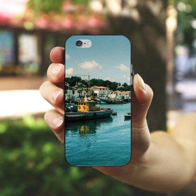 Apple iPhone X Silikon Hülle Case Schutzhülle Hafen Küste Boote Silikon Case schwarz / weiß