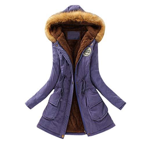 JUTOO Womens Warm Long Coat Kragen Kapuzenjacke Schlank Winter Parka Outwear Mäntel(Lila,Medium) (Womens Lila Winter Mantel)