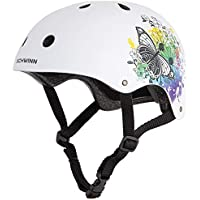 Schwinn Girls' Butterfly BMX Helmet, White, Medium  (Age 8+)