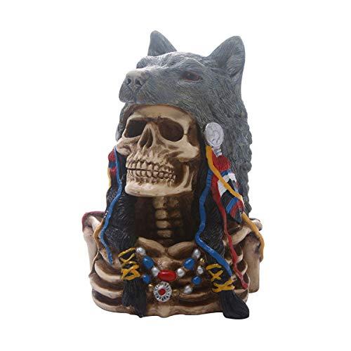 FIZZENN Resin Craft Native American Indian Skull mit Wolfskopf Gothic Statue mit Kopfschmuck Figur Friedhof Beinhaus Spooky Decor -