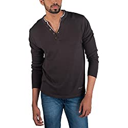 Provogue Mens Cotton Sweater (8903522446849_103602-GY-110_Large_Grey)