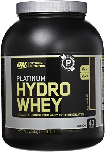 Optimum Nutrition Hydro Whey Protein Isolat Pulver (mit essentiellen Aminosäuren, Glutamin und BCAA. Eiweisspulver von ON) Milk Chocolate, 40 Portionen, 1,6kg
