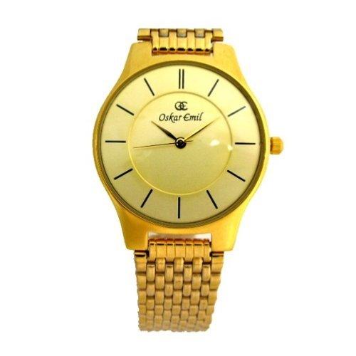 Ultra thin gold plated unisex watch with diamond by Oskar Emil