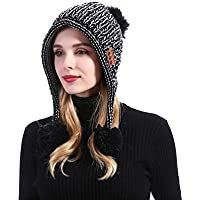 MZ036 Bluetooth Beanie Music Hat Scarf Windproof and Snowproof Headset Music headgear Cap with Wireless Stereo Headphone for Winter Outdoor Sport Running Skiing Skating Hiking Camping (Black + White)