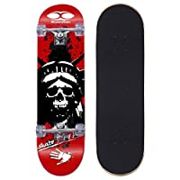 "YD-0008 Complete Skateboard 31"" inches, 7 Layer Maple Wood Double Kick Concave Skate Board"